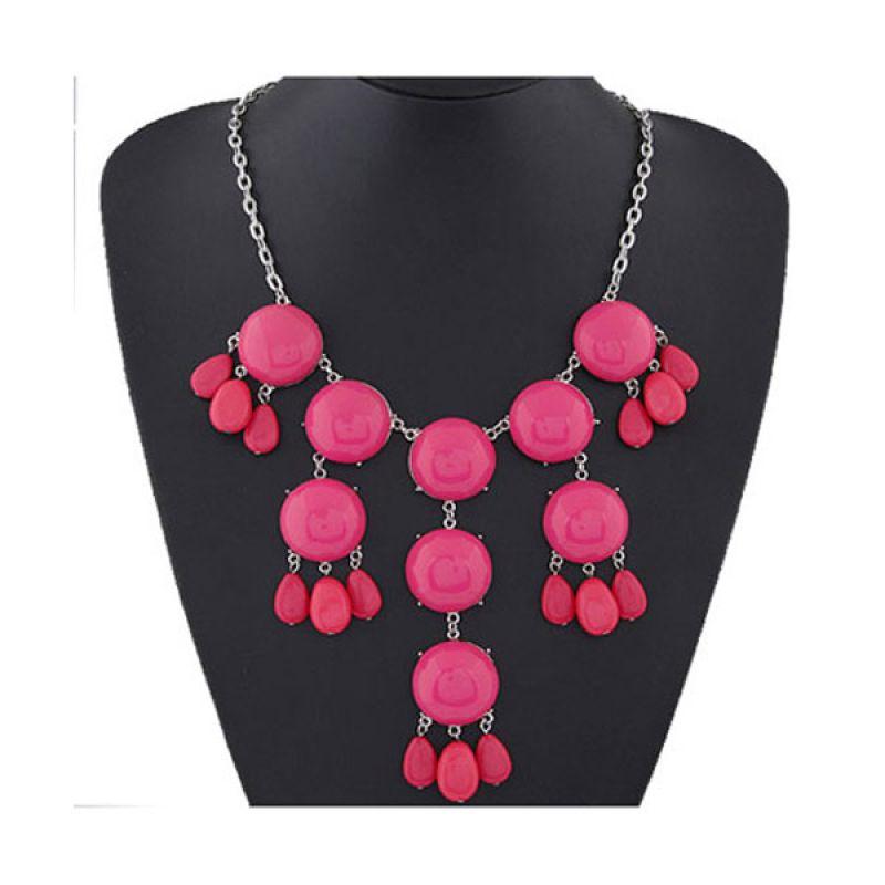 Fashionista KN37140 Korea Round Gemstone Plum Red Kalung