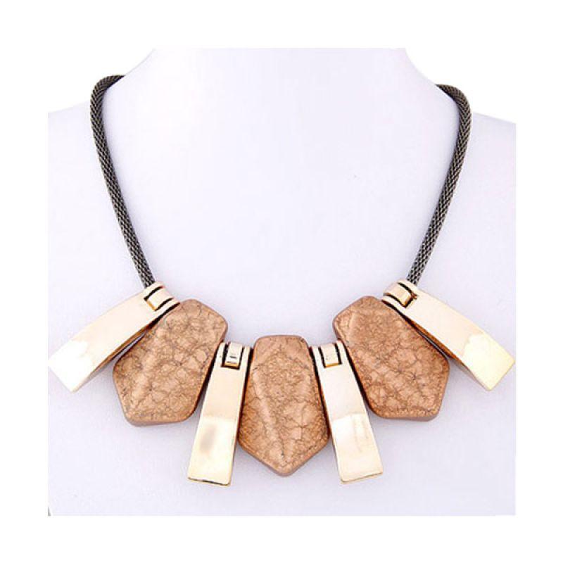 Fashionista KN37554 Korea Brown Geometrical Shape Brown Kalung