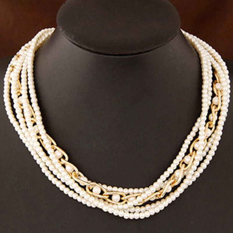 Fashionista KN38145 Korea Multilayer White Pearl Kalung