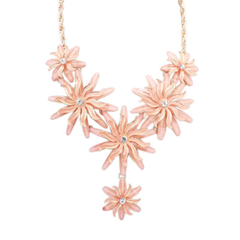 Fashionista KN53191 Korea American Flower Pink Kalung