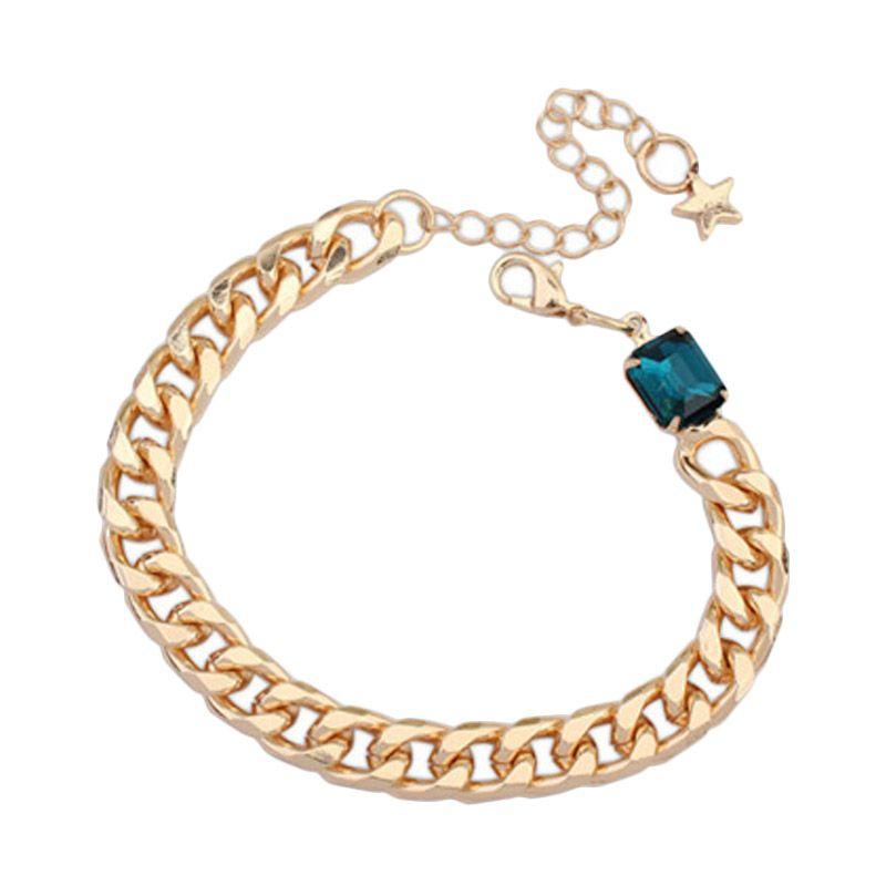 Fashionista Korea Diamond Oval KB54462 Dark Blue Gelang Wanita