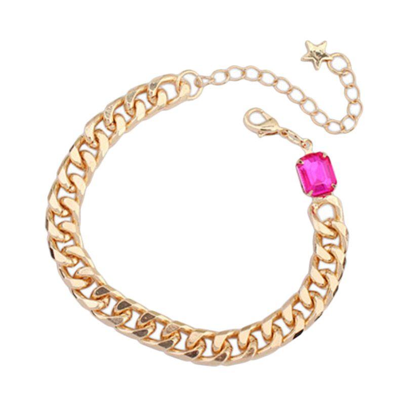 Fashionista Korea Diamond Oval KB54463 Plum Red Gelang Wanita