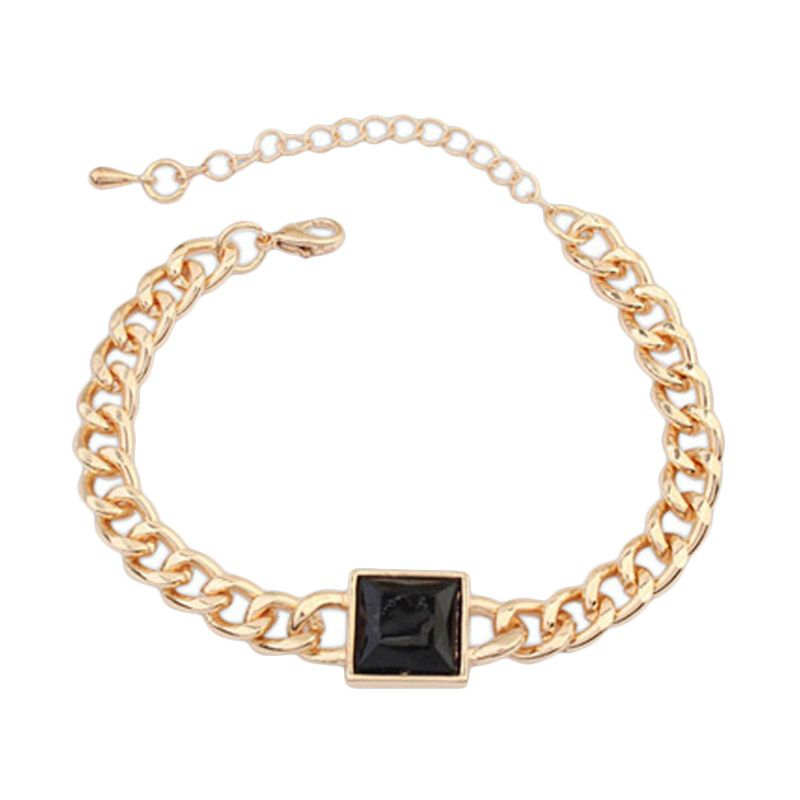 Fashionista Korea Diamond Square KB54461 Black Gelang Wanita