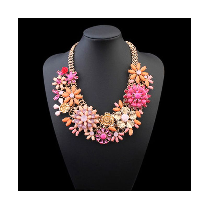 Fashionista Korea Gemstone Flower KN54813 Orange Kalung