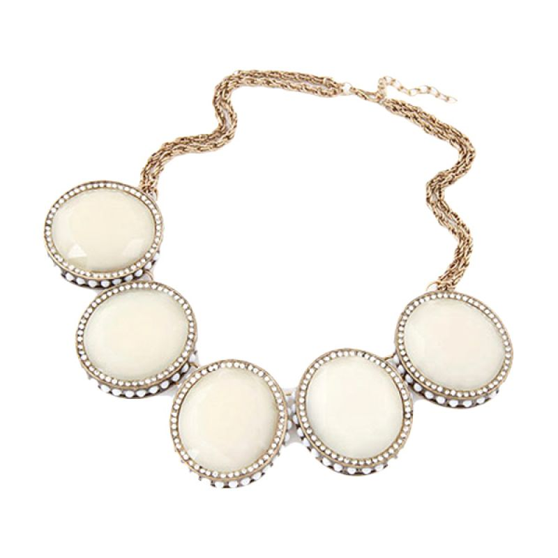 Fashionista Korea Gemstone Short Chain KN40086 White Kalung