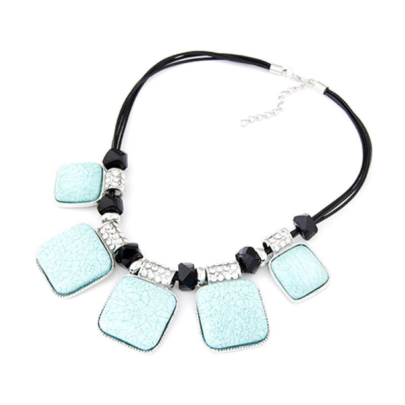 Fashionista Korea Gemstone Square KN39324 Blue Kalung Wanita