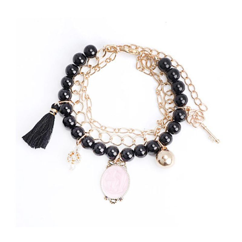 Fashionista Korea KB16746 Beads Tassel Black Gelang