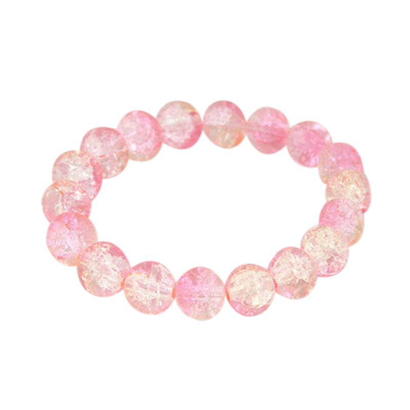 Fashionista Korea KB38400 Crystal Beads Pink Gelang