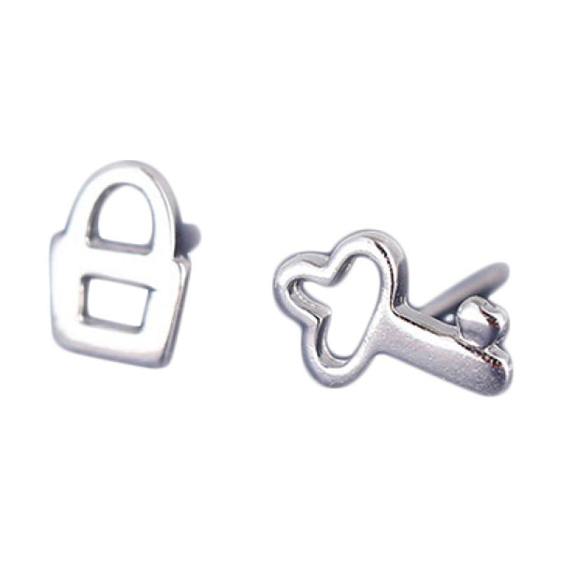 Fashionista Korea Key and Lock KE40018 Silver Anting