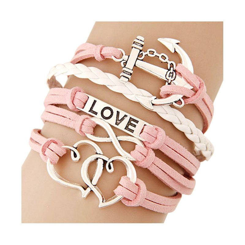 Fashionista Korea Multicharm Anchor Love Double Heart KB39888 Pink Gelang
