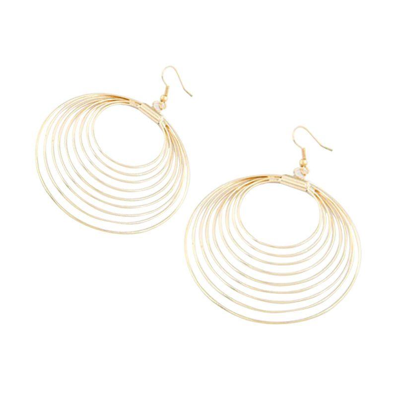 Fashionista Korea Nine Metal Circles KE34337 Gold Anting