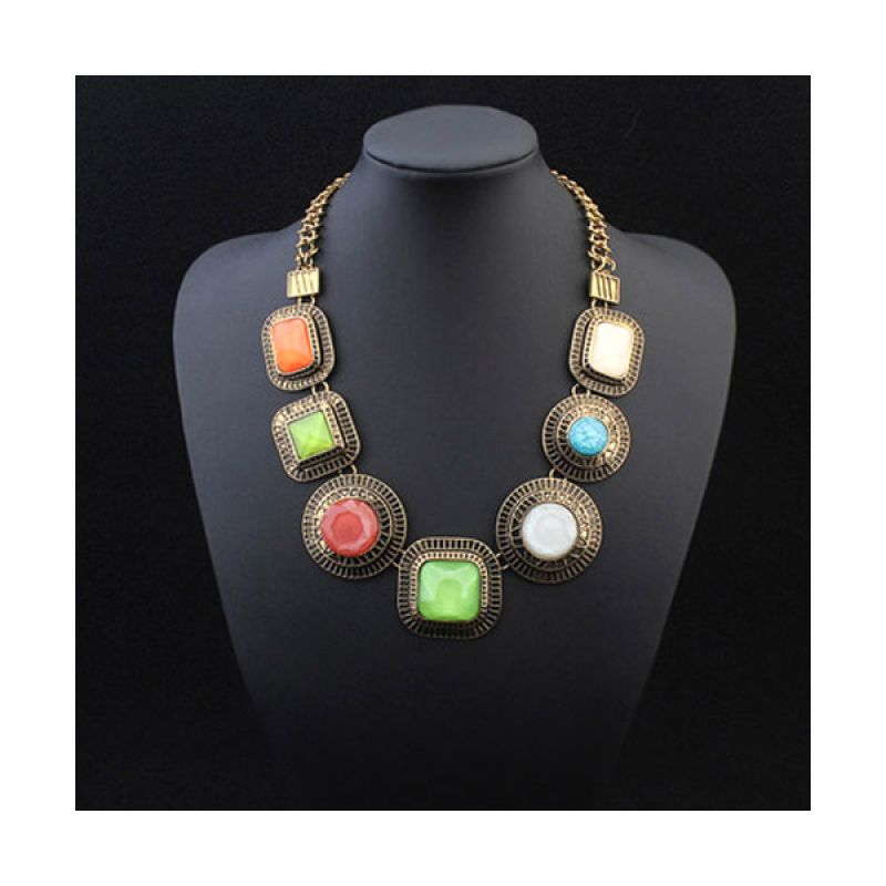 Fashionista Korea Retro Gemstone Geometrical KN54830 Antique Kalung