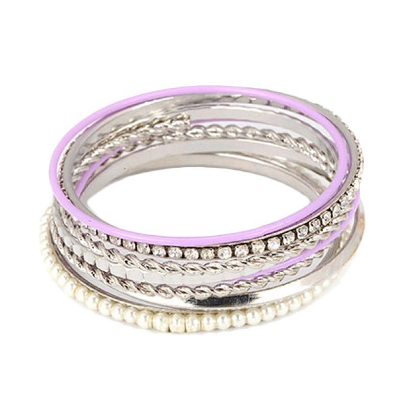 Fashionista Korea Weave Design CZ Diamond KB08011 Purple-Silver Gelang