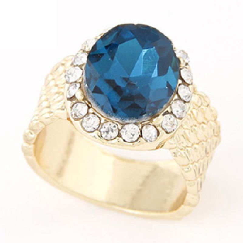 Fashionista KR38139 Korea Gemstone Navy Blue Cincin