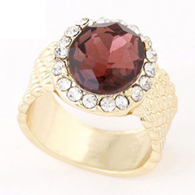 Fashionista KR38140 Korea Gemstone Claret Red Cincin