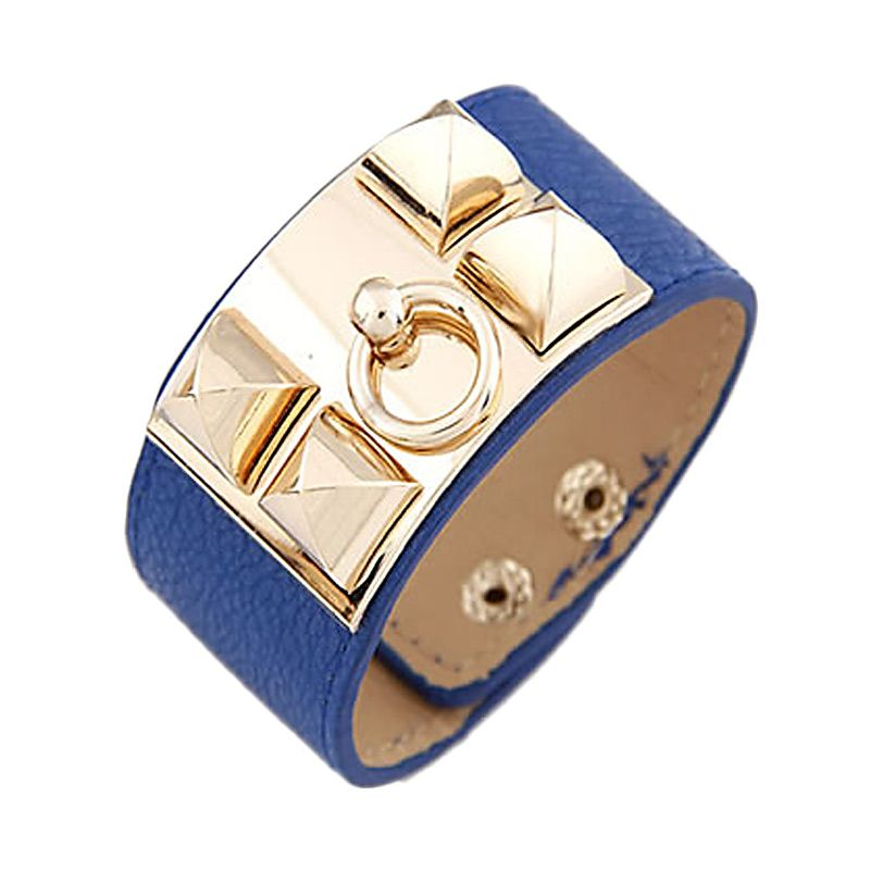 Fashionista Plated Leather KB27740 Dark Blue Gold Gelang
