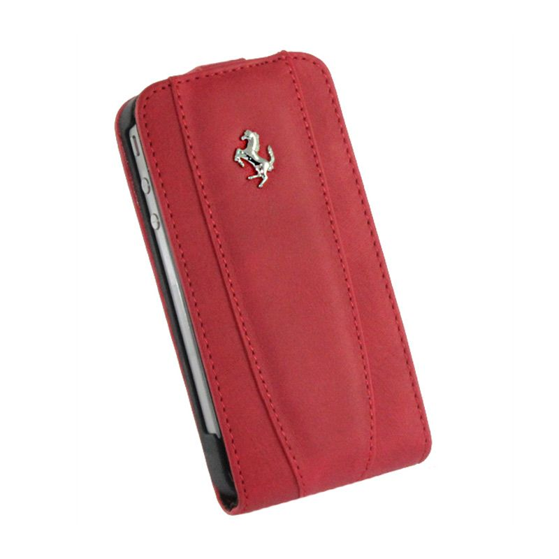 Ferrari GT Collection Leather Case Merah Modena Etui Flap Iphone 4/4s