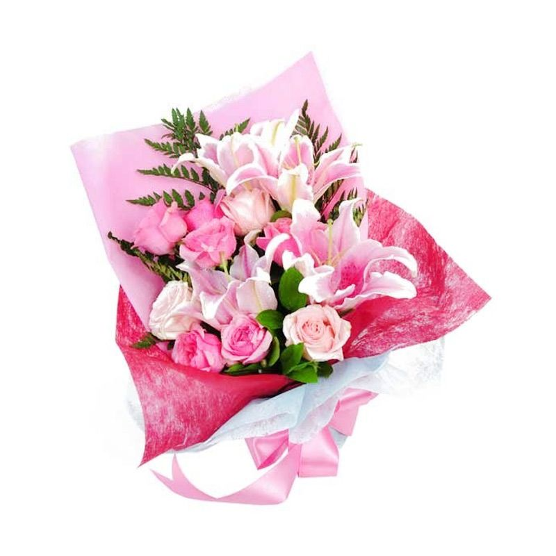 Flower Advisor Bright Love Pink Roses and Pink Lily Flower Bouquet