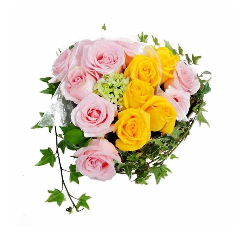 Flower Advisor Heart to Heart Pink and Yellow Roses Flower Bouquet