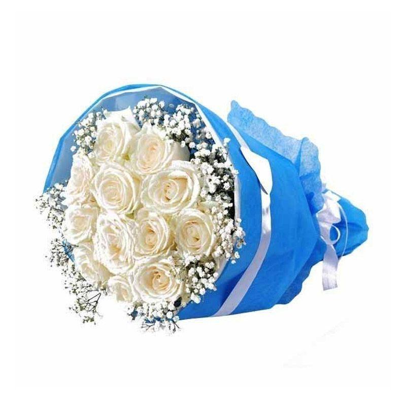 Flower Advisor Love Serendipity White Roses Flower Bouquet [12 tangkai]