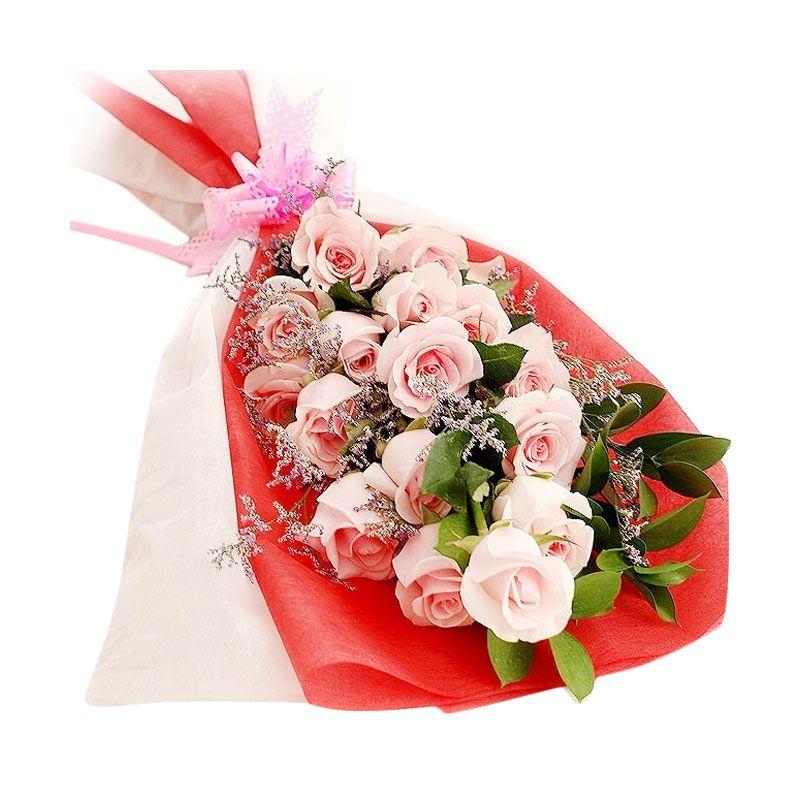 Flower Advisor Mermaid Magic Pink Roses Flower Bouquet [15 tangkai]