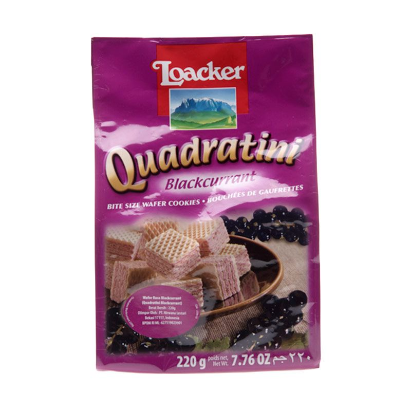 Loacker Quadratini Blackcurrant Biskuit Wafer