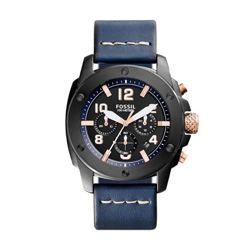 harga Fossil FS 5066 Modern Machine Chronograph Leather Watch Jam Tangan Pria - Navy Blibli.com