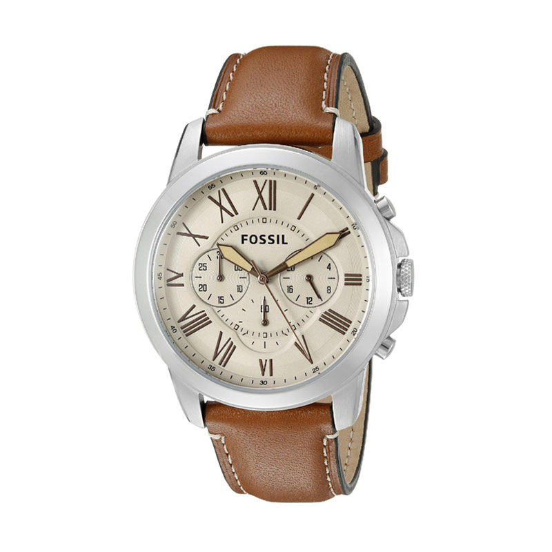 FOSSIL Grant Chronograph FS5118 Light Brown Leather Jam Tangan Pria