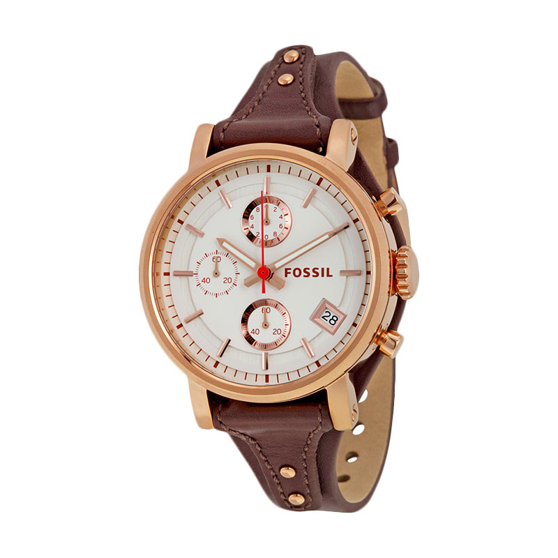 Jam Tangan Fossil ES3616 Original Boyfriend Chronograph Raisin Leather Watch