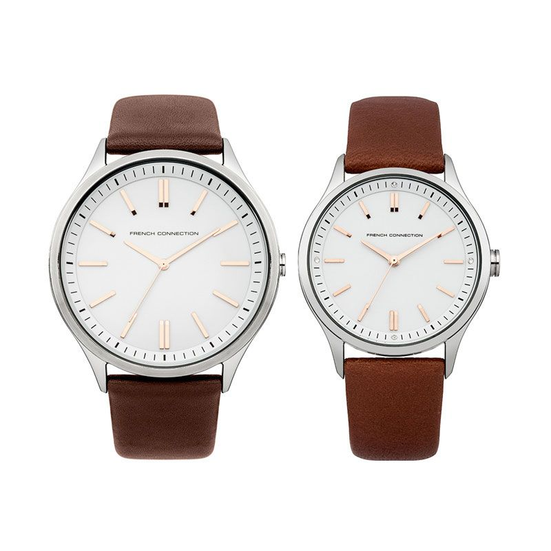 French Connection FC1244TT-FC1245T Dark Brown Jam Tangan Couple