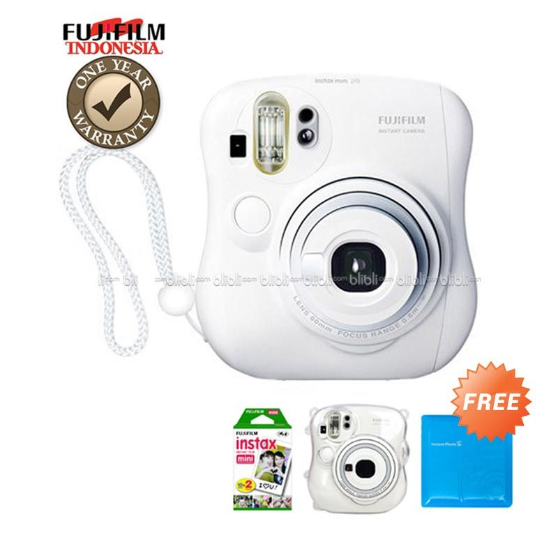 Fujifilm Instax Mini 25 Putih Kamera Polaroid + Film plain 20 Lembar + Transparant Hardcase + Jelly Album 64 Photo Random Color