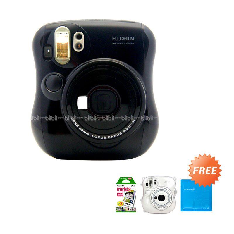 Fujifilm Instax Mini 25 Soul Black Kamera Polaroid + Film Plain 20 Lembar + Transparant Hardcase + Jelly Album 64 Photo Random Colors