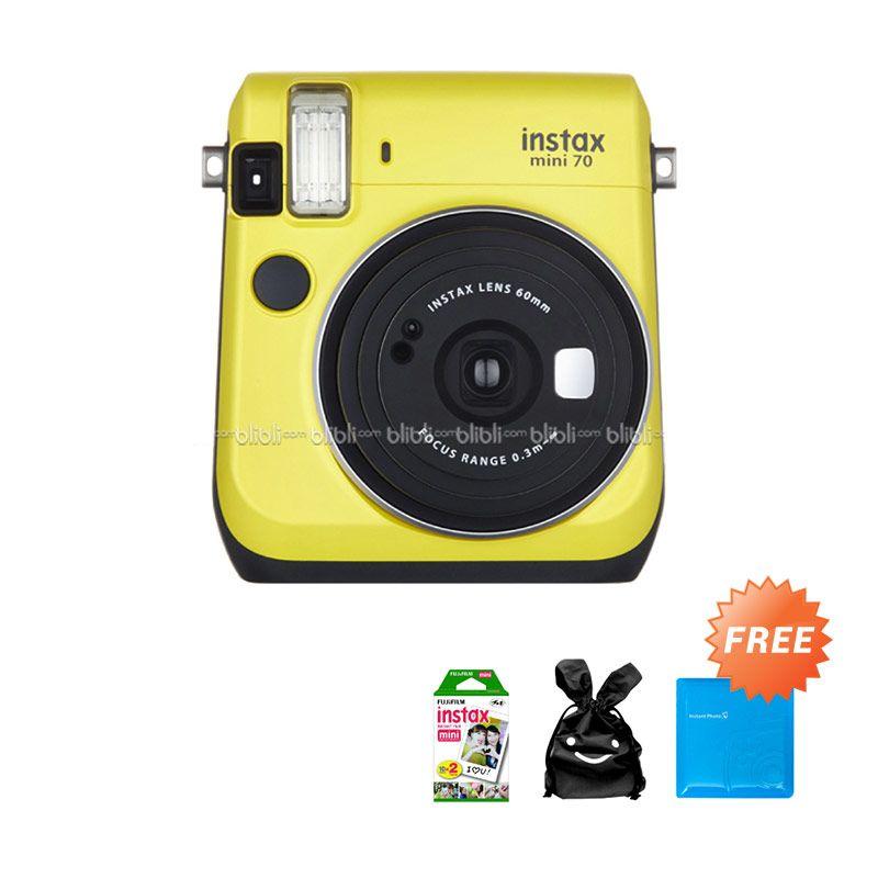 Fujifilm Kamera Polaroid Instax Mini 70 - Kuning + Free Gift