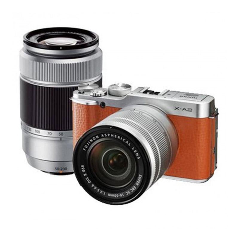 Fujifilm X-A2 Double Kit 16-50mm & 50-230mm f/3.5-5.6 OIS II Brown Kamera Mirrorless bonus: Memory 16GB