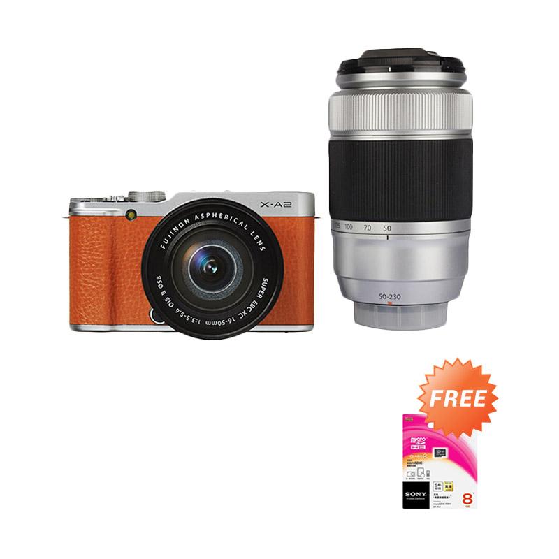 harga Fujifilm X-A2 Double Kit 16-50mm + 50-230mm Kamera Mirrorless - Cokelat [16 MP] + Free Memory Sony 8 GB Blibli.com
