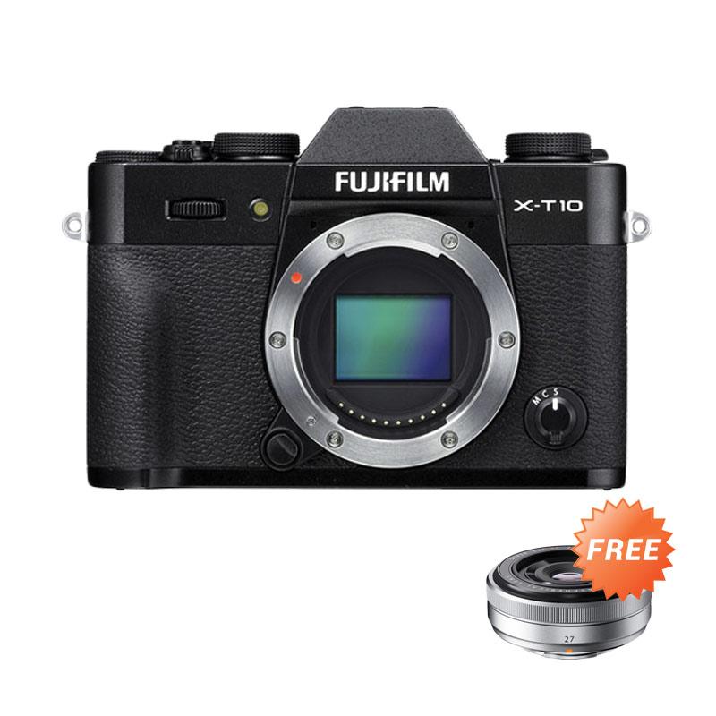 Fujifilm X-T10 Body Only Black Kamera Mirrorless + Fujinon XF27mm f/2.8 Pancake Lens