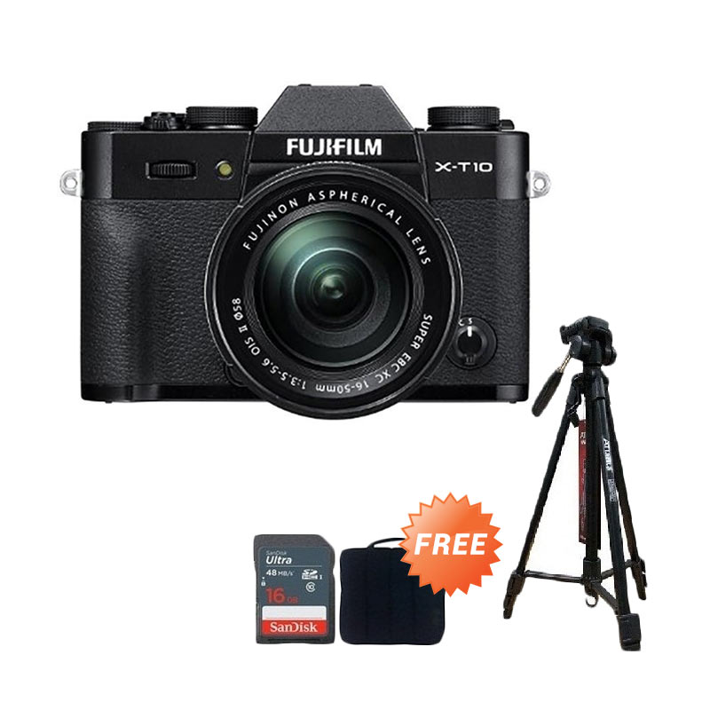 FUJIFILM X-T10 Kit XC16-50mm Black + Screen Guard + SDHC 16GB + Filter UV 58mm + Sling Camera Bag + Tripod