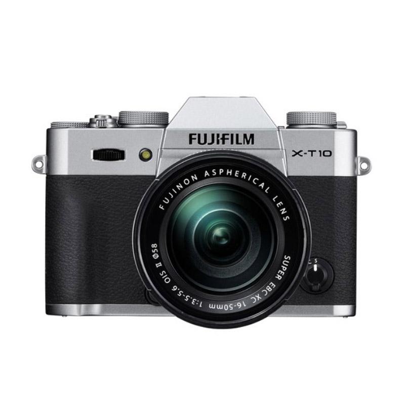 Fujifilm X-T10 Kit XF 16-50mm Kamera Mirrorless - Silver + Screen Guard + SDHC 8GB