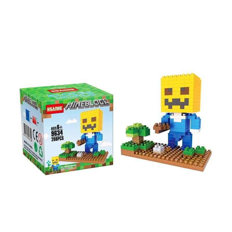 Funbrick Indonesia Hsanhe 9634 Minecraft Steve Pumpk Mainan Blok & Puzzle