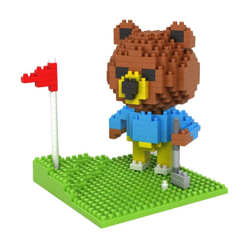 Loz Gift Brown Bear Golfing 9427 Mainan Blok dan Puzzle [Large]