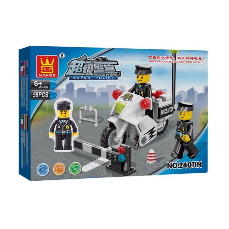Bricks Wange 24011N Police Motorcycle Mainan Blok & Puzzle