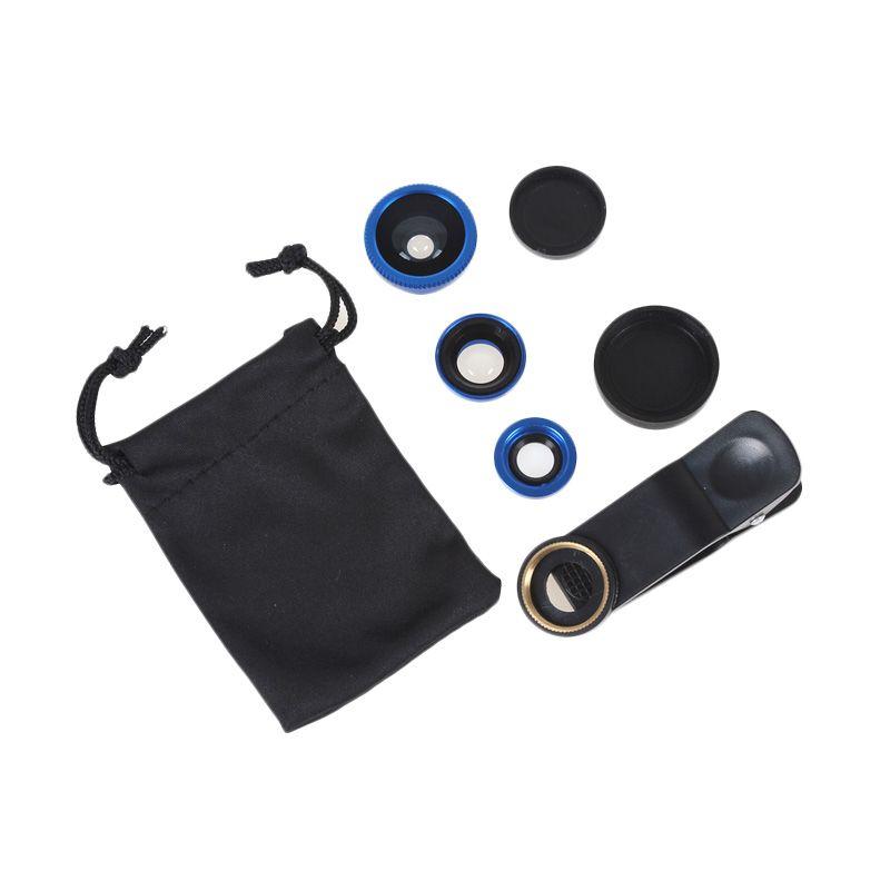 Fisheye 3 in 1 Wide Macro Clip Universal Lensa Kamera for Smartphone + Pouch