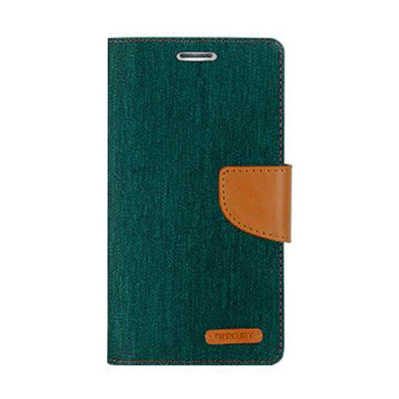 Mercury Goospery Canvas Diary Green Camel Casing for Xiaomi Redmi Note