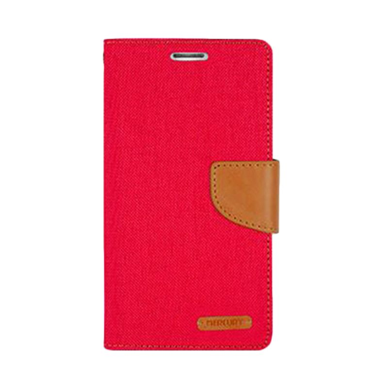 Mercury Goospery Canvas Diary Red Camel Casing for Asus Zenfone 2 ZE551ML