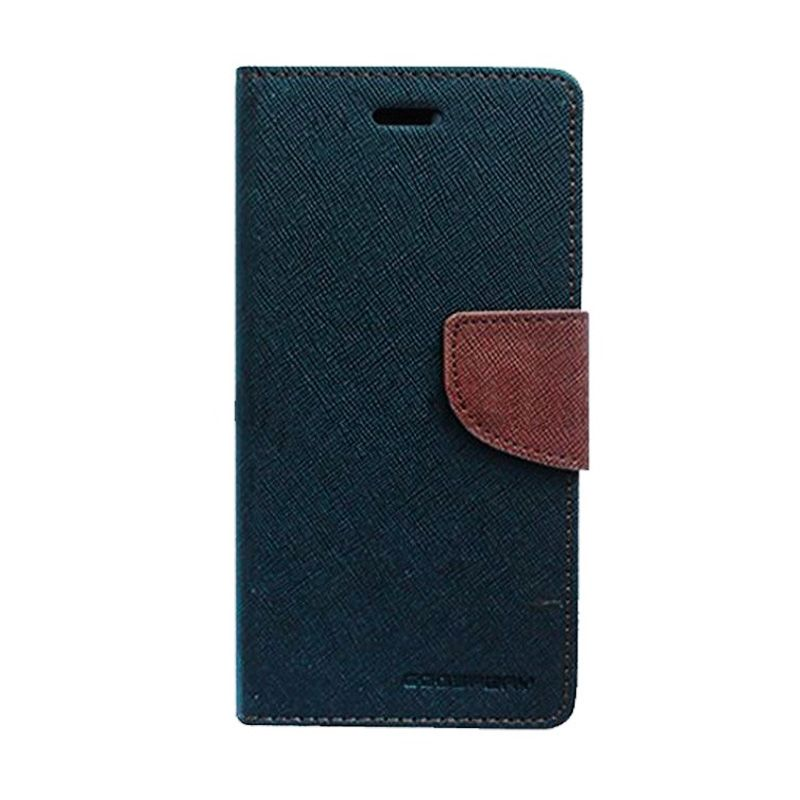 Mercury Goospery Fancy Diary Black Brown Flip Cover Casing for Galaxy Core 2 Duos