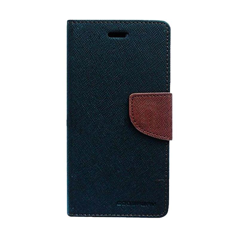 Mercury Goospery Fancy Diary Flip Cover Black Brown Casing for Asus Zenfone 5