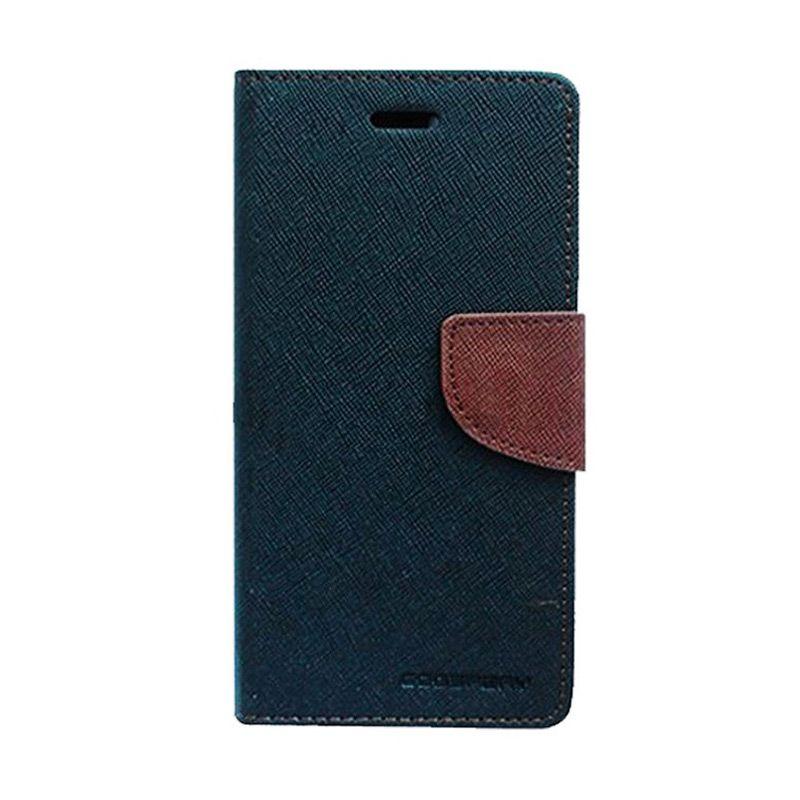 Mercury Goospery Fancy Diary Black Brown Flip Cover Casing for Samsung Galaxy Mega 6.3