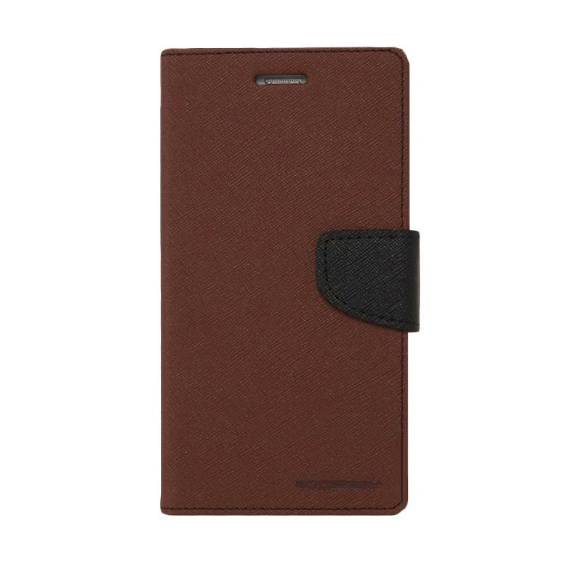 Mercury Goospery Fancy Diary Brown Black Casing for Galaxy Grand Duos Neo