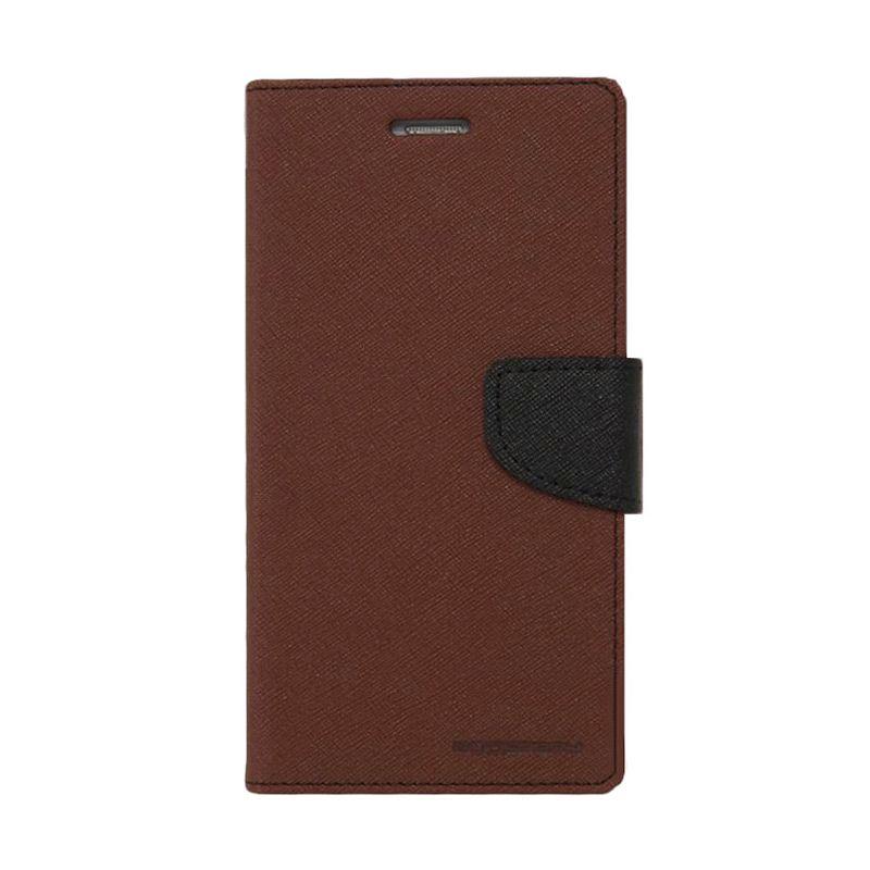 Mercury Goospery Fancy Diary Brown Black Flip Cover Casing for Oppo Joy
