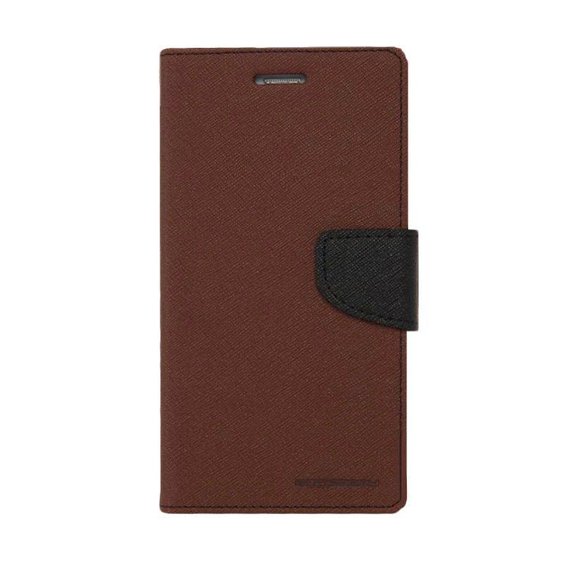 Mercury Goospery Fancy Diary Brown Black Flip Cover Casing for OPPO